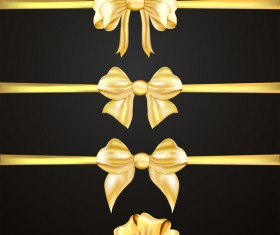 Luxury golden ribbons with bow vectors 01