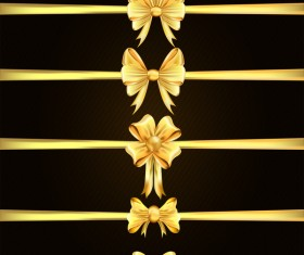 Luxury golden ribbons with bow vectors 02