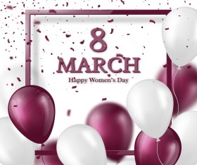 March 8 greeting card Women Day with balloon vector 01