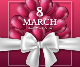 March 8 women day card with balloon and ribbon bow vector 01
