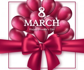 March 8 women day card with balloon and ribbon bow vector 02