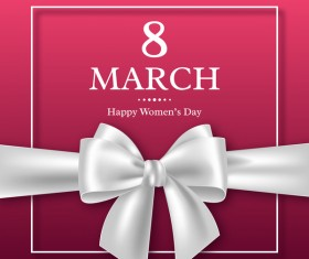 March 8 women day card with ribbon bow vector 01