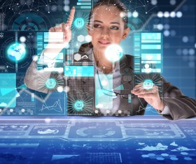 Master the advanced technology business woman Stock Photo 01