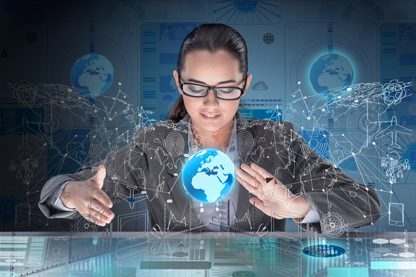 Master the advanced technology business woman Stock Photo ...