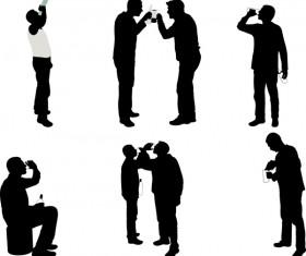 Men drinking silhouette vector