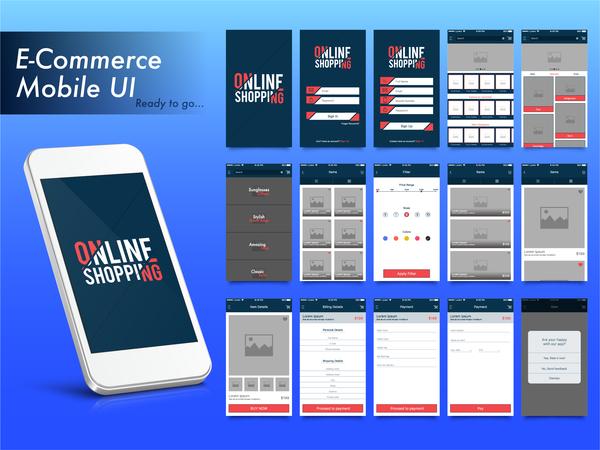 Mobile UI flat vector design