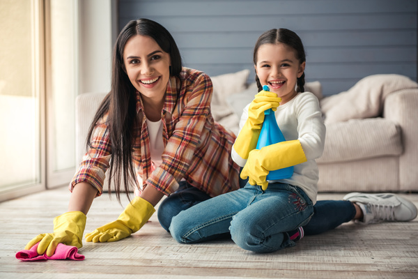 Mom and daughter cleaning house Stock Photo 06