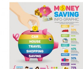 Money saving infographic with piggy bank vector 03