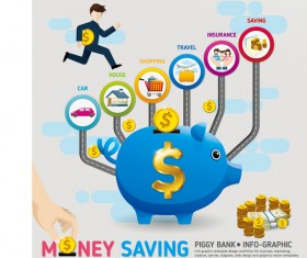 Money saving infographic with piggy bank vector 04