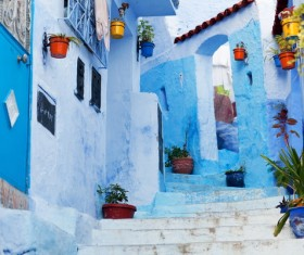 Moroccan blue town Stock Photo