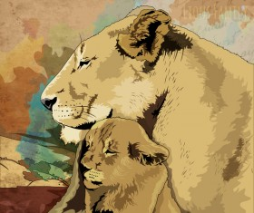 Mother lion and young lion hand drawn vector