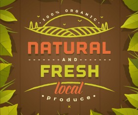 Natural fresh local produce poster template vector 01