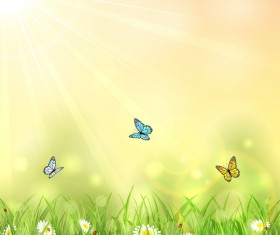 Nature background with butterflies vector