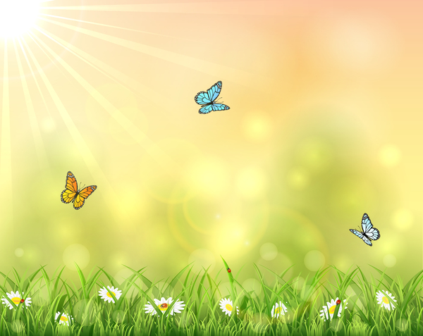Nature background with three butterflies vector Vector
