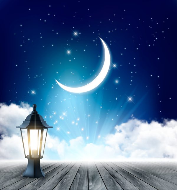 Night Background With Crescent Moon And Wooden Floor And Lamp Vector Vector Background Free