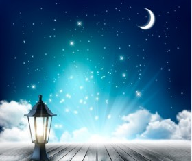 Night nackground with moon and clouds and lamp vector