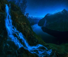 Night of the Geiranger Fjord HD picture