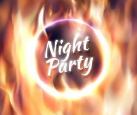 Night party with fire background vectors