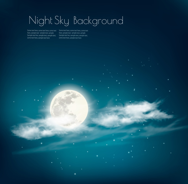 night sky background with white clouds and moon vector