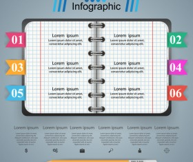 Notepad and education infographic vectors template 01