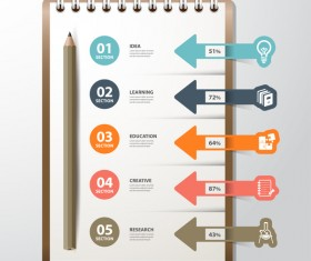 Notepad and education infographic vectors template 02