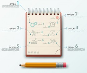 Notepad and education infographic vectors template 03