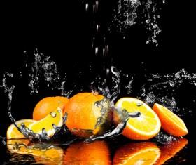 Oranges and splashing water Stock Photo 03