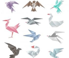 Orgami birds vector set 03