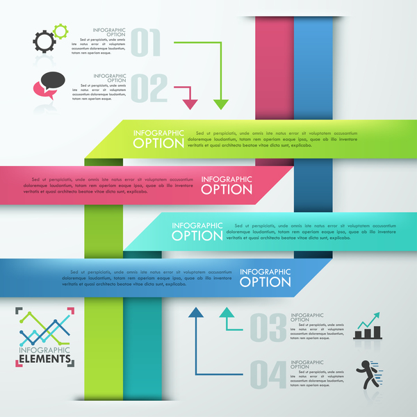 Origami options infographic template vector 01