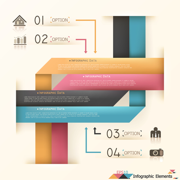 Origami options infographic template vector 11
