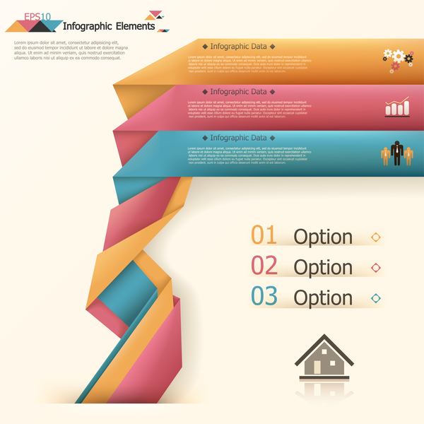 Origami options infographic template vector 14
