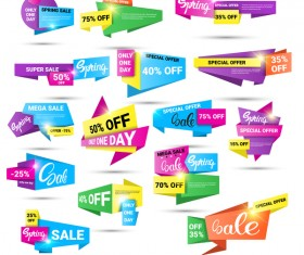 Origami special offer labels vector