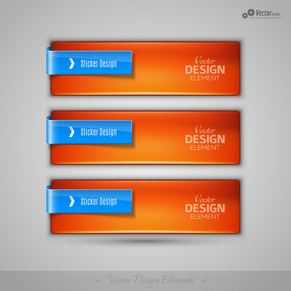 Ornage red glass texture banners vector