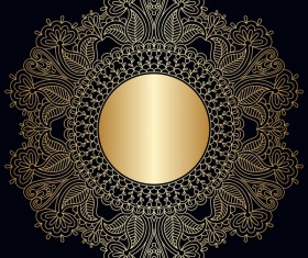 Ornament round gold vector material 02