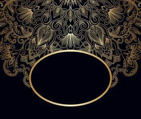 Ornament round gold vector material 05