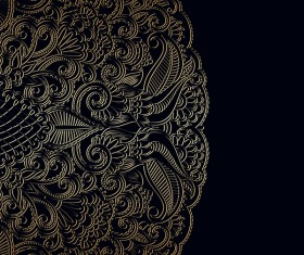 Ornament round gold vector material 07