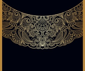 Ornament round gold vector material 08