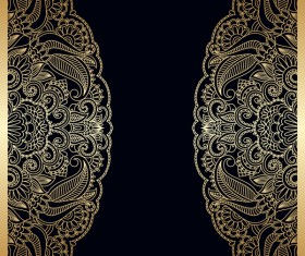 Ornament round gold vector material 09