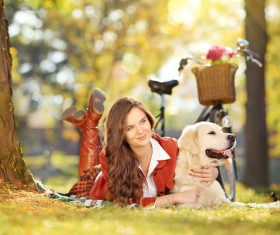 Pet dog with people Stock Photo