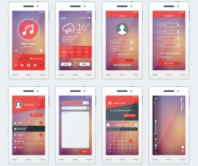 Pink mobile flat UI vector