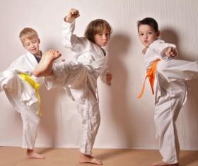 Practice Taekwondo children Stock Photo