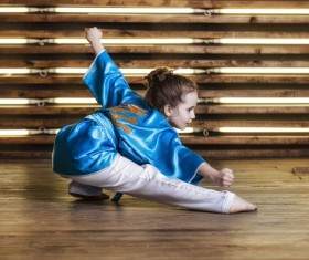 Practicing Chinese martial arts girl Stock Photo