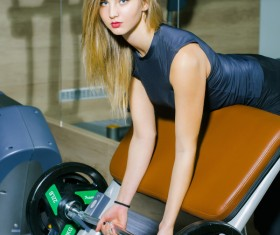 Pretty woman pulling exercise HD picture