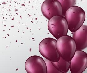 Purple balloon and confetti vector background