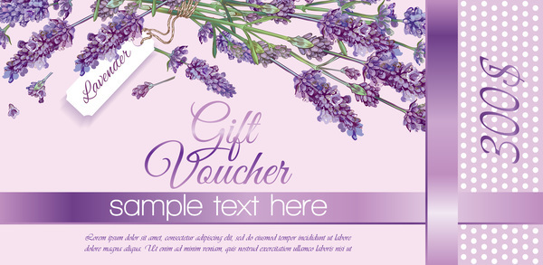 Purple flower with gift voucher vector template