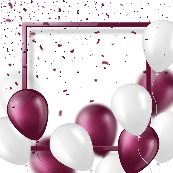 purple with white balloon and frame vector background 01