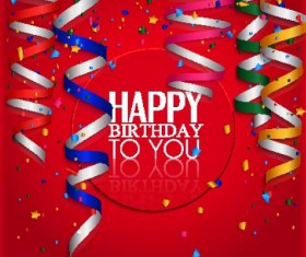 Red Birthday background with colored ribbon vector