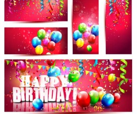Red birthday banners with balloon vector