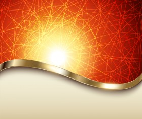 Red fine lines background with metal decorative vector