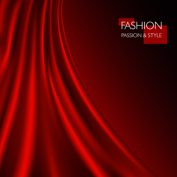 Red smooth silk background vector 03
